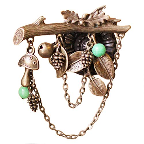 Airlove Vintage Broches Girls Pin Tree Leaf Brooch Bronze Brooches Pins Exquisite Collar for Women Dance Party Accessories