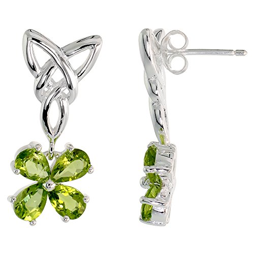 Sterling Silver Peridot Triquetra Earrings Celtic Trinity Knot 4 Leaf Clover Dangle Post Flawless Finish 1 inch