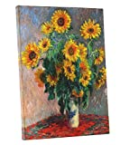 Niwo Art - Bouquet of Sunflowers, by Claude Monet - Oil Painting Reproductions - Giclee Canvas Prints Wall Art for Home Decor, Stretched and Framed Ready to Hang