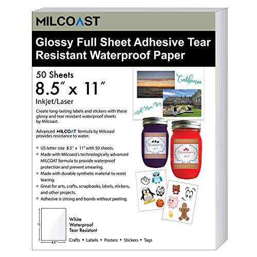 """Milcoast Glossy White Full Sheet 8.5"""" x 11"""" Adhesive Tear Resistant Waterproof Photo Craft Paper - for Inkjet/Laser Printers - for Stickers, Labels, Scrapbooks, Bottles, Arts, Crafts (50 Sheets)"""