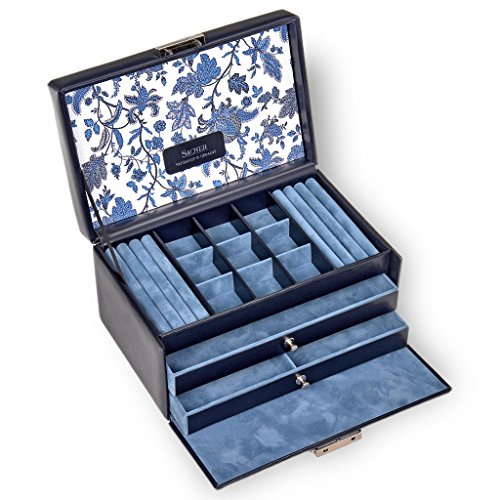 SACHER Schmuckkoffer Elly/florage/blau/Leder/Handmade in Germany/Schmuckaufbewahrung