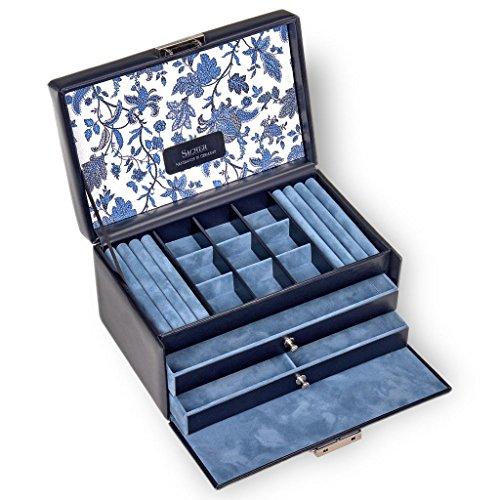SACHER Schmuckkoffer Elly/florage/blau/Echt Leder/Handmade in Germany/Schmuckaufbewahrung