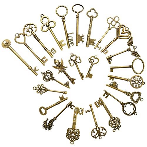 FOCCTS 24 Pcs Llaves de Bronce Antiguo Colgante de Joyería Llaves Antiguas Accesorios de Decoración Exquisitos Adornos de Metal Dijes para Pulseras y Accesorios de Joyería de Bricolaje, 5-9mm