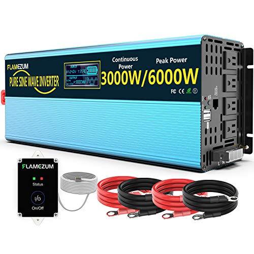 FLAMEZUM 24 Volt 3000W/6000W Pure sine Wave Power Inverter DC 24V to AC120V, with 4 AC sockets, with Remote Control 2.4A USB and LED Display, Suitable for motorhomes, Trucks and Emergency situations