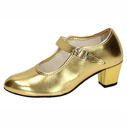 MADE IN SPAIN 22 Zapato DE Flamenco NIÑA Zapatos TACÓN Oro 24