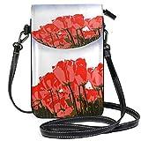 XCNGG Monedero pequeño para teléfono celular Tulips Flowers Cell Phone Purse Wallet for Women Girl Small Crossbody Purse Bags