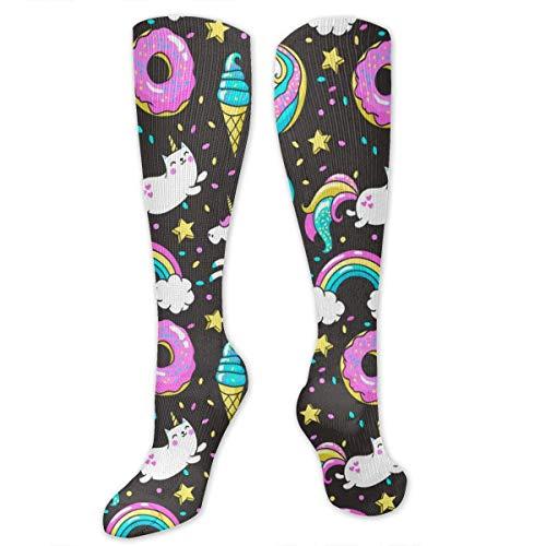 Bosbweo Unicornios Donuts Calcetines deportivos arcoíris Medias hasta el muslo Calcetines altos hasta la rodilla