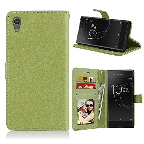 Fatcatparadise Kompatibel mit Sony Xperia Z6 / XA1 Hülle + Bildschirmschutz, Flip Wallet Hülle mit Kartenhalter & Magnetverschluss Halterung PU Leder Hülle handyhülle (Grün)