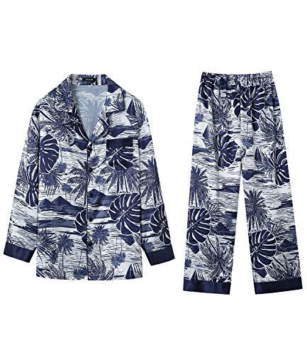 Herren Pyjama Lang Schlafanzug Seide Satin Pijamas Zweiteilig Langarm Homewear Pyjama Set S-XL