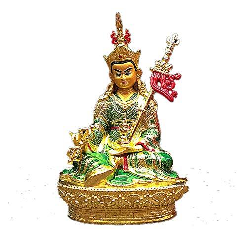 ZSQZJJ Jardín al Aire Libre Escultura Figura Estatua decoración,Talismán Tibetano de Loto Budista de aleación de Metal Dorado para decoración del hogar eficaz