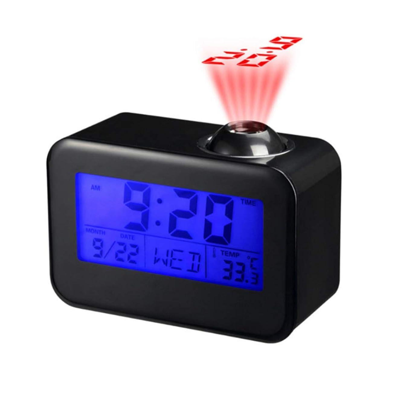 テレビチャンピオン隠すLEDデジタルプロジェクションクロックパーペチュアルカレンダー、音声制御/発光画面/音声時間/ミュート/スヌーズモード/タイム放送、最高の贈り物時計