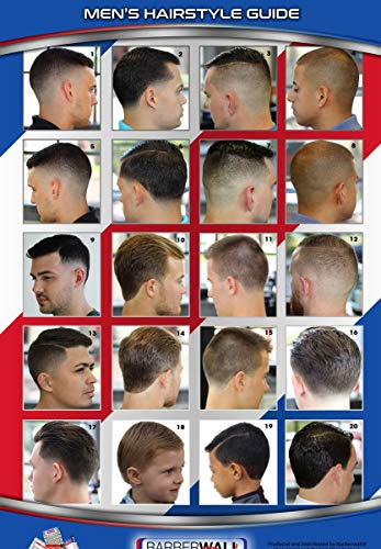 Barber Poster, Barber Shop Poster Features Caucasians Men with Modern Haircuts. High Definition Photographs, Laminated for Durability and Fade Prevention, Dimension 24 x 36 inches. You Will Love It.