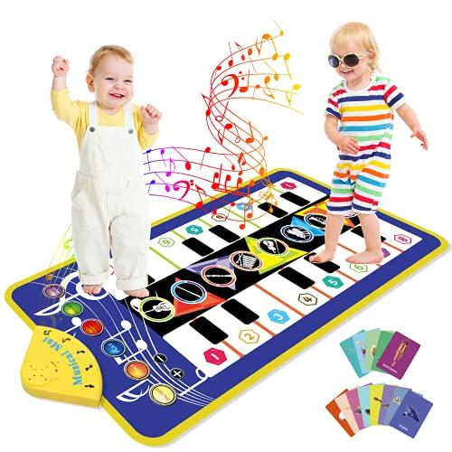 Joyjoz Alfombra de Piano Duet con Más de 80 Sonidos, Alfombra de Baile con Música, Alfombra de Juego Musical, Juguetes Musicales para Bebés, Niños y Niñas de 1 a 6 Años (110 * 53 cm)