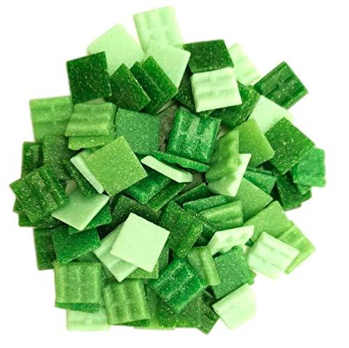 Armena Mosaikstein Mosaikfliesen Glas 2x2cm 250g (Circa 85 Stück) Grün gemischt