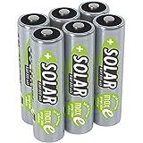 ANSMANN Akku AA Mignon 800mAh 1,2V NiMH für Solarlampen 6 Stück - Wiederaufladbare Batterien mit geringer Selbstentladung maxE - Solar Akkus ideal für Solarleuchten im Garten - Rechargeable Battery