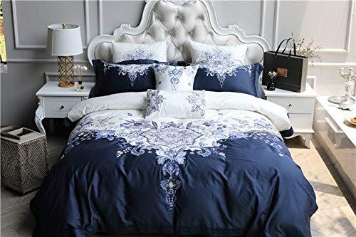 RONGXIE königlichen Stickerei ägyptischen CottonBedding Set Bettbezug Blatt Kissenbezug König Queen Size weiß Bett Linie