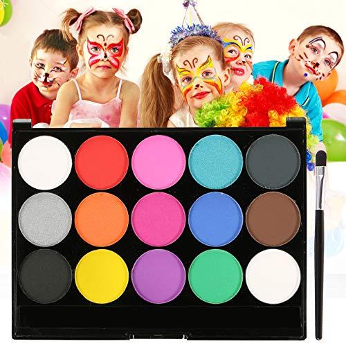 Skymore Pintura Facial, Pintura Corporal con 15 colores Maquillaje Para Niños, Colorantes Naturales y Adulto de Maquillaje Para Cuerpo Professionale Halloween, Carnaval, Maquillaje Facial