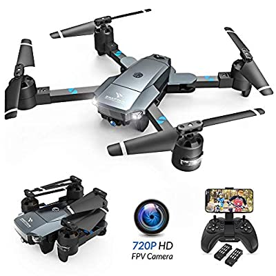 SNAPTAIN A15 Foldable FPV WiFi 120° Wide-Angle 720P HD Camera, Voice Control/Trajectory Flight/Altitude Hold, Drone for Adults and Beginners, 2 Modular Batteries (Included) from Snaptain