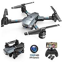 ✈【Conception Pliable et Facile à Transporter】La conception innovante permet au drone d'être facilement plié, les lames pliables et flexibles rendent le drone petit et portable, vous pouvez profiter bien de le plaisir du vol. ✈【720P Caméra HD et FPV T...