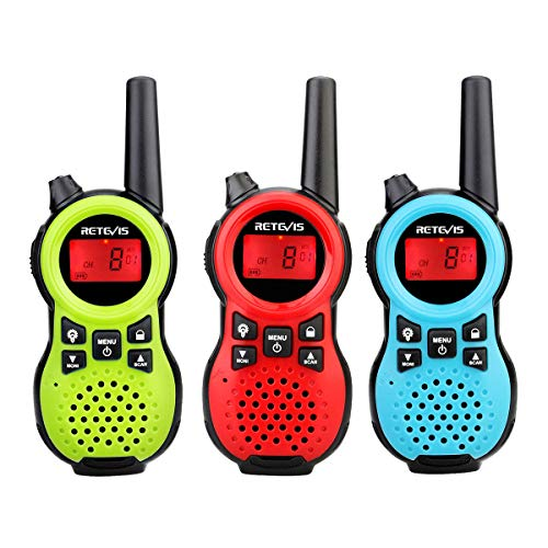 Retevis RT38 Walkie Talkie for Kids, 3 Pack 22CH Rechargeable,Toys Gifts for 3-12 Year Old Boys Girls with LCD Flashlight Long Range,Adults Family,Adventures,Camping,Hiking