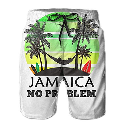 Hunter qiang Jamaica Men's Beach Surfing Board Shorts Swim Trunks Pants WhiteSize XL