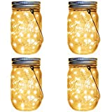 fairy jar lights - Solar Lanterns Mason Jar Hanging Lights,4 Pack 30 LED Lights String Fairy Firefly Starry Jar Lights (Mason Jars/Hangers Included),for Patio Garden Wedding Table Mason Jar Decor Solar Lantern Lights