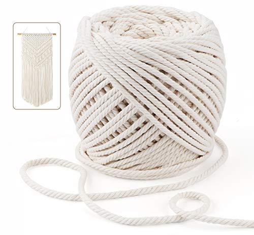 Anstore Makramee Baumwolle, 50 m x 6 mm, handgefertigt, natürliche Baumwollschnur für Pflanzenaufhänger, Wandbehang, DIY Handwerk (Beige)