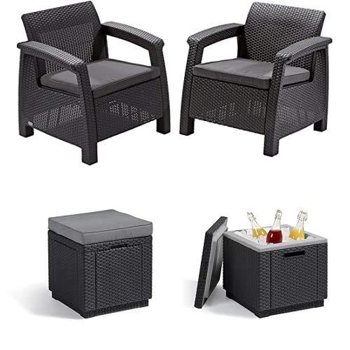 Alibert by Keter Corfu 2er Set Gartenstuhl aus Kunstoff + Hocker mit Stauraum Cube w/Cushion + Beistelltisch Ice Cube