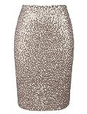 kayamiya Women's Sequin Cocktail Skirt High Waist Stretchy Glitter Bodycon Pencil Skirts L Champagne
