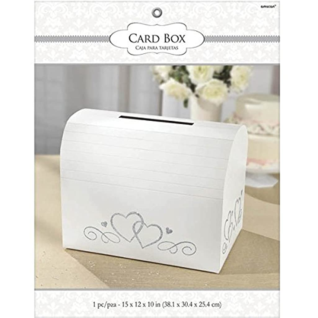 White Card Holder Box with Silver Glitter Hearts   Wedding and Engagement Party