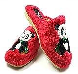 Zapatillas casa Oso Panda Invierno Mujer cómodas Calientes Suaves Piso Pluma Ligero Pantuflas Confort Calidad diseño y fabricación española Slippers Home (39, Rojo)