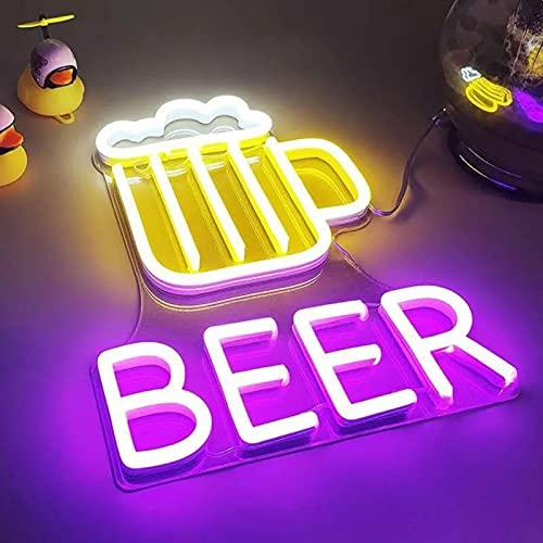 M-MIAO Luce Neon LED,Luci Neon da Parete,Insegne Luminose da Parete Neon,Boccale di Birra Beer, con Alimentatore, L27 × P36 CM,per Cameradaletto,San Valentino, Natale