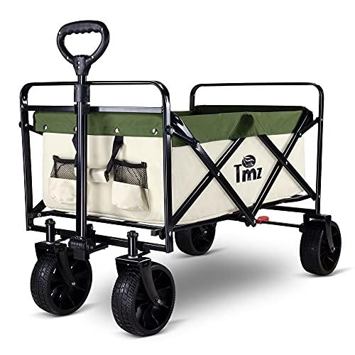 TMZ Folding Wagon Cart Collapsible Outdoor Utility Wagon Garden Shopping Cart Beach Wagon with...