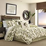 Tommy Bahama Nador Collection Comforter Set-100 Percent Cotton, Ultra-Soft Bedding with Matching Shams and Bedskirt, Machine Washable Easy Care, Queen, Beige