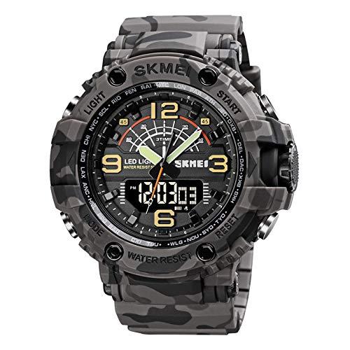Ajcoflt Quartz Digital Eletrônico Masculino Relógio 3 Horas Modo Data Semana Despertador Retroiluminação 5ATM Impermeável Masculino Moda Relógios Esportivos Pulseira para a Vida Diária