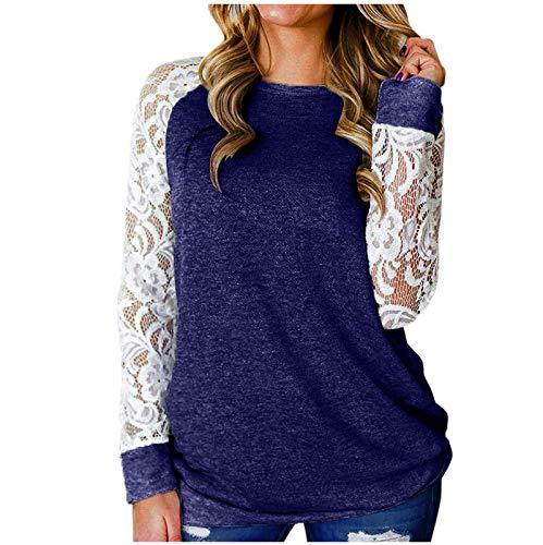Chejarity Camiseta básica de manga larga para mujer, de encaje, raglán, elegante, para otoño e invierno azul XXXL