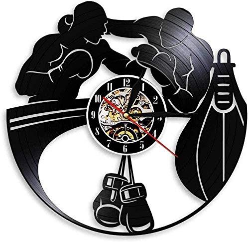 tjxu Reloj de Pared de Vinilo Caja Arte Sala de Regalo Registro casero Moderno decoración Vintage sin