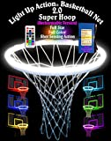 Light Up Action Basketball Net 2.0 Goal Lighting System Full Size Full Color with Shot Sensing Action (Rechargeable Version)