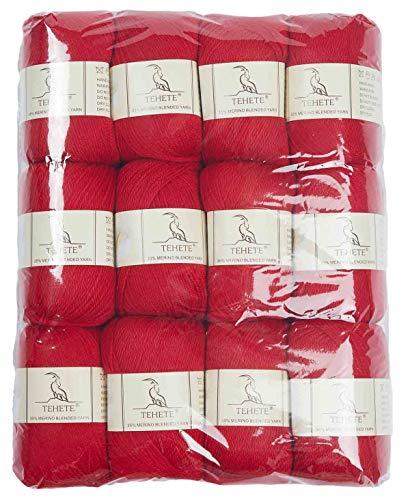 TEHETE Ovillo de lana, Hilados lana merino,12 Bolas x 50g, Hilo para manta,suéter calcetín, bufanda, diy, ganchillo y tejido-rojo