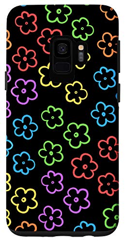 Galaxy S9 Cute Flower Pattern Wildflower Colorful Black Floral Case