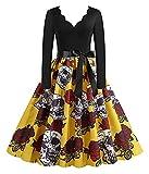Pointedd Señoras Nueva Halloween cráneo Calabaza Calabaza Estampado Redondo Cuello Redondo Vestido de Fiesta de Manga Larga Vestido Casual Vestido Diario Retro Falda Larga (Color : Yellow, Size : L)