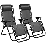 Homall Zero Gravity Chair Adjustable Folding Lawn Lounge Chairs Outdoor Lounge Gravity Chair Camp Reclining Lounge Chair with Pillows for Poolside Backyard and Beach Set of 2