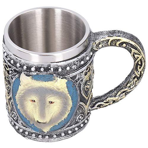 Taza del lobo del acero inoxidable, taza de café de las tazas del whisky del vino del lobo de la resina 3D para el viaje casero de la barra