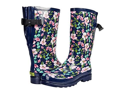 Western Chief Waterproof Printed Wide Calf Rain Boot Garden Navy 6 M