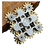 Pure Brass Fidget Spinner Gears Linkage Fidget Gyro Toy Metal DIY Hand Spinner Spins Long Time EDC Focus Meditation Break Bad Habits ADHD with Multiple Premium Bearings (9 Gears White)