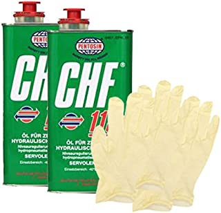 Pentosin CHF 11S Synthetic Hydraulic Fluid (1 Liter) Bundle with Latex Gloves (6 Items)