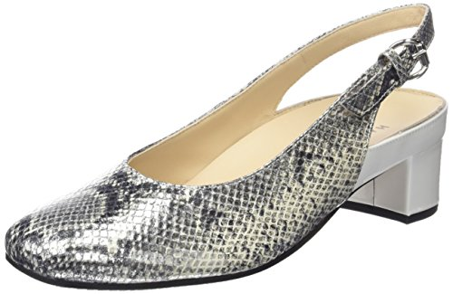 Hassia Verona, Weite H, Damen Knöchelriemchen Sandalen, Silber (7604 silber/offwhite), 36 EU (3.5 Damen UK)