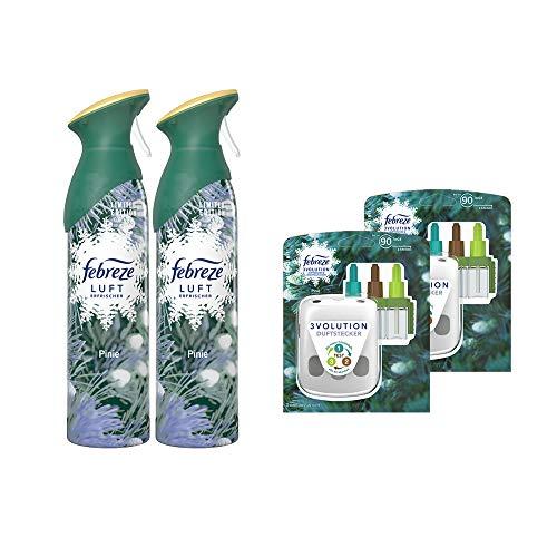 Febreze Set Pinie - 2 x 300ml Lufterfrischer Spray & 2x Duftstecker Gerät incl. 2x 20ml Flacon