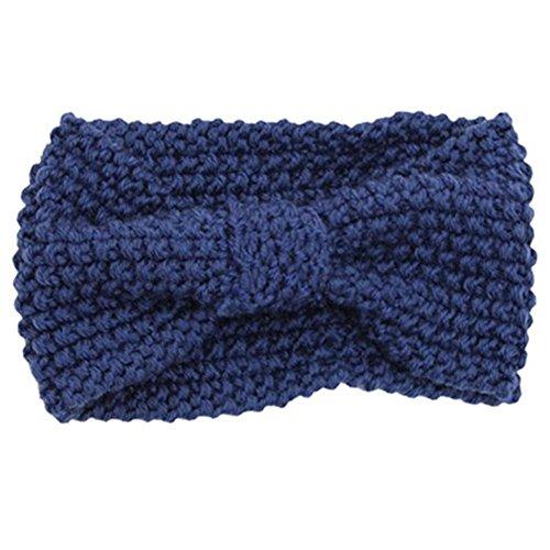 Damen Gestrickt Stirnband Häkelarbeit Schleife Design Winter Kopfband Haarband Blau