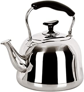 Stovetop Catering Kettle Stainless Steel Whistle 5L Kettle Thickened Bottom More Durable Catering Kettle Stovetop Kettle Whistling Teapot Coffee Pot ZHAOSHUNLI (Capacity : 5l)